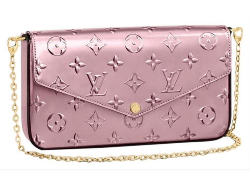 Louis Vuitton 3D Rose Vernis Felicie Flap Crossbody Wallet on Chain Flap Bag 861647