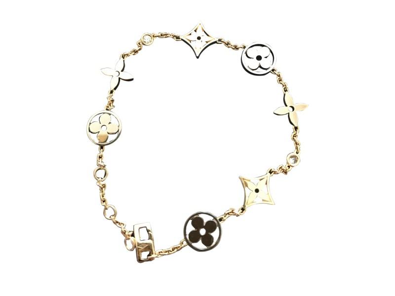 Louis Vuitton 18K White, Yellow & Rose Gold Diamonds Flower Bracelet