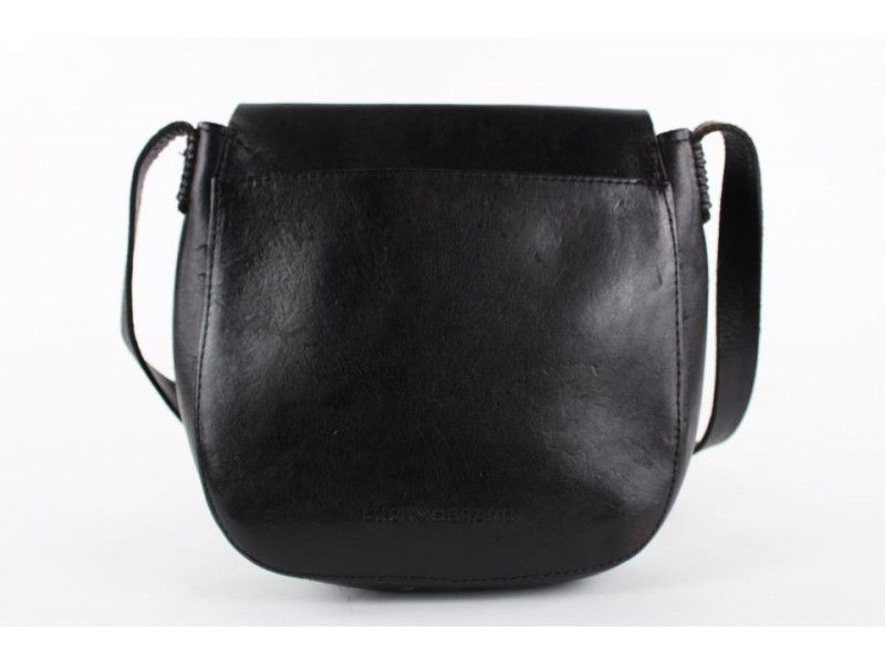 Lucky Brand Black Leather Crossbody Flap Bag 25lb1229