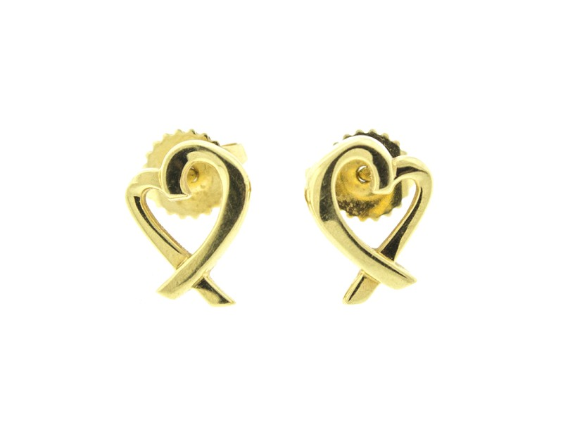 Tiffany & Co. Paloma Picasso 18k Yellow Gold Loving Heart Earrings