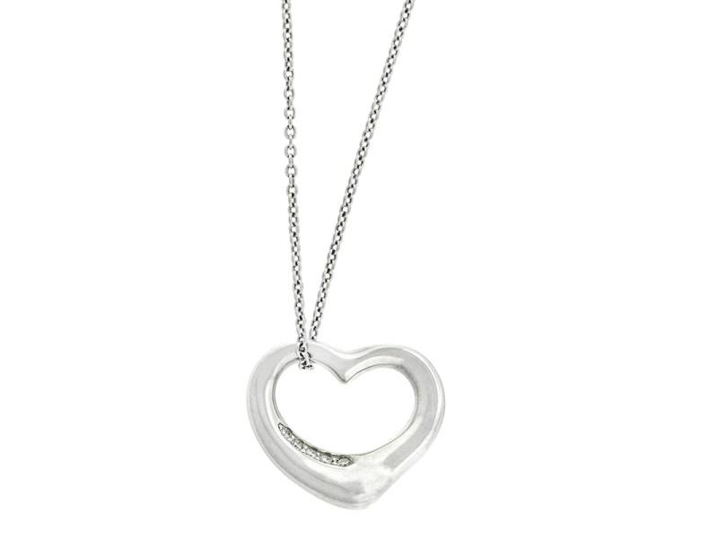 Tiffany & Co. Elsa Peretti Platinum Diamond Heart Necklace