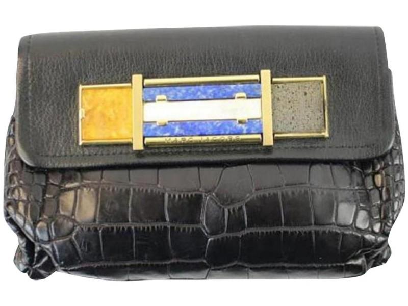 Marc Jacobs Limited Edition 150mja1025 Black Crocodile Skin Leather Clutch