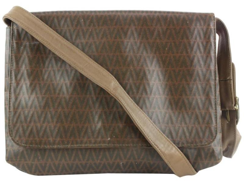 Mario Valentino Brown Logo Crossbody Flap Bag 174mv53