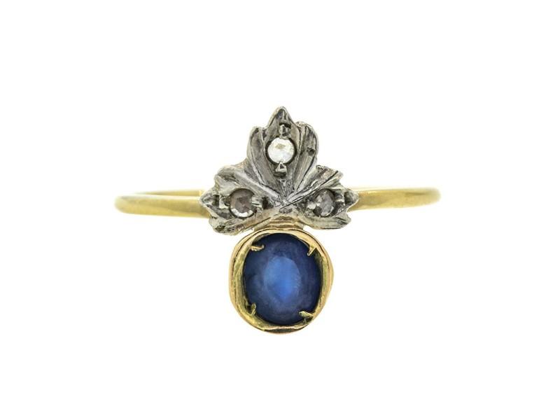 14k Yellow and White Gold Sapphire Tiara Ring