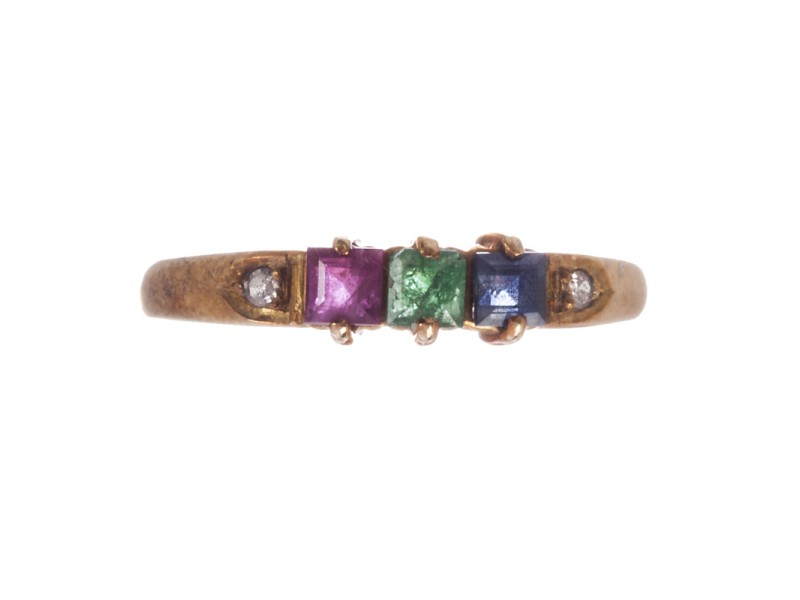 14K Gold Blue Sapphire Ruby Emerald Diamond Ring