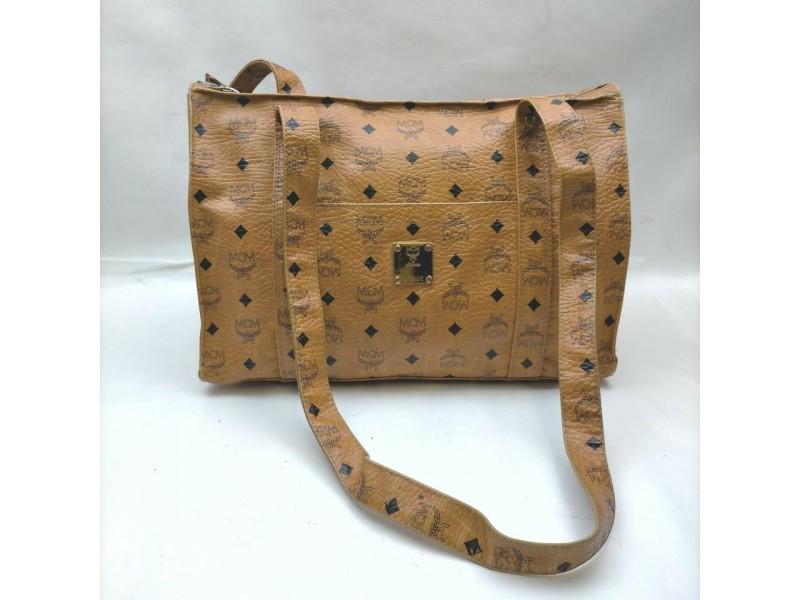 MCM Cognac Monogram Visetos Shopper Tote Bag 862523