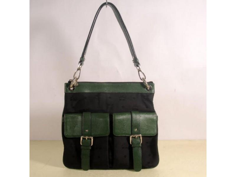 MCM Bicolor Double Pocket 869334 Black Canvas Shoulder Bag