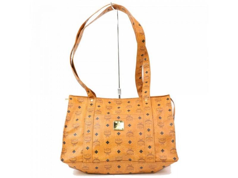 MCM Cognac Monogram Visetos Shopper Tote 870285 Brown Coated Canvas Shoulder Bag