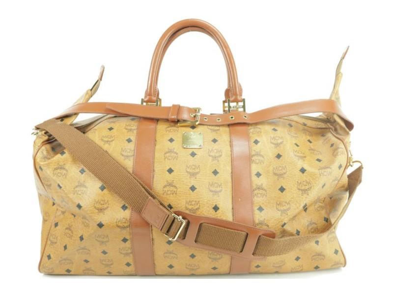 MCM Duffle Large Boston with Strap Cognac Monogram Visetos 4mk1230 Brown Coated Canvas Weekend/Travel Bag