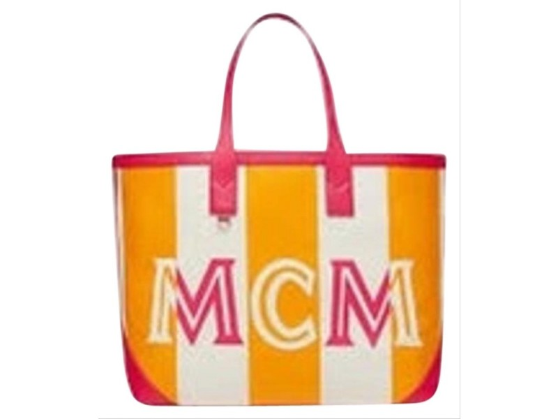 MCM Extra Large Ilse Shopper 4mcm71 Pink X Yellow Canvas Leather Tote