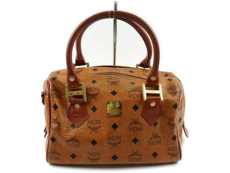 MCM Logo Doctors Cognac Monogram Visetos Boston 872641 Light Brown Coated Canvas Satchel