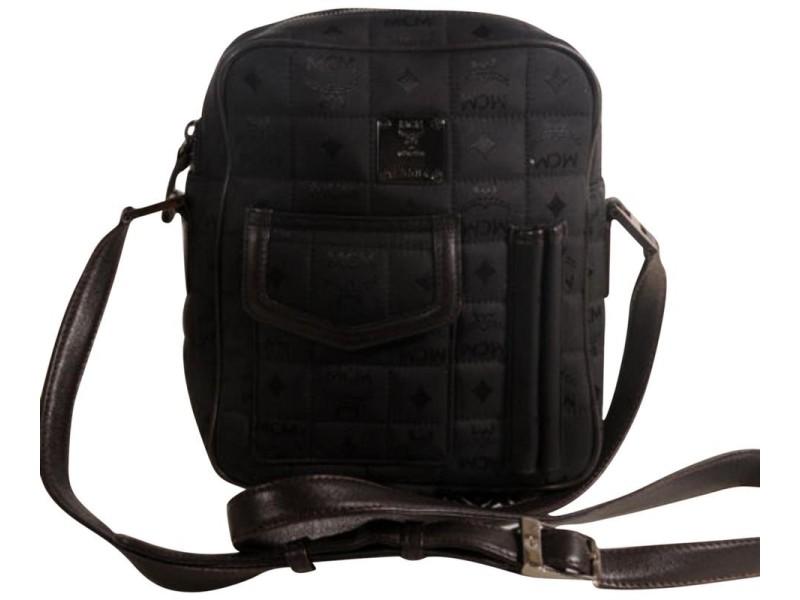 Mcm Messenger Quilted Monogram Visetos Cross Body 869659 Black Nylon Shoulder Bag