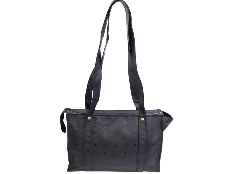 Mcm Monogram Visetos Shopper Tote 868203 Black Polyurethane Shoulder Bag