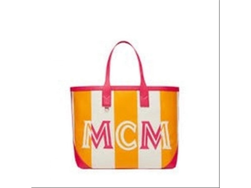 MCM Orang Ilse Large Beach 22mcm62 Pink Canvas Tote