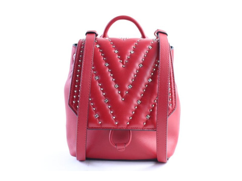 MCM Quilted Diamond Mini Disco 17mr0319 Red Leather Backpack