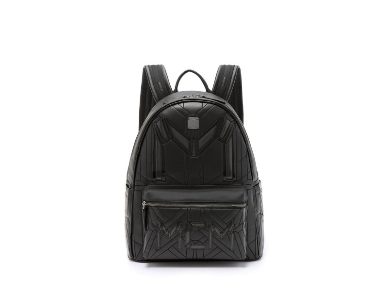 MCM Quilted Embossed Bionic 232006 Black Leather Backpack