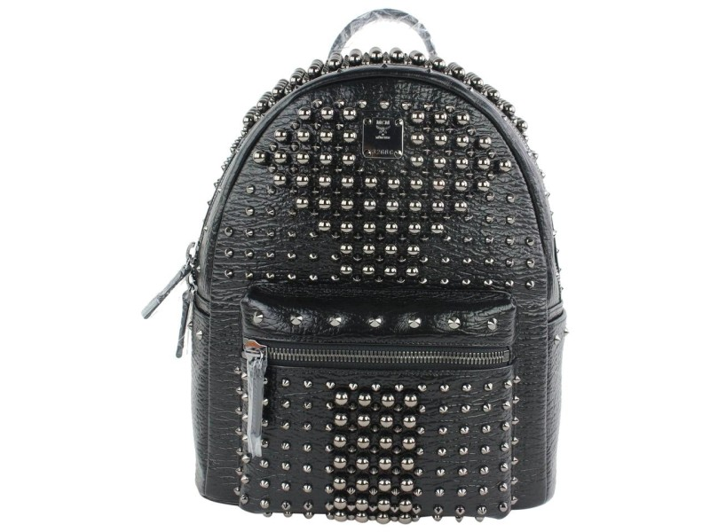 MCM Pearl Stud 2mcz1025 Black Leather Backpack