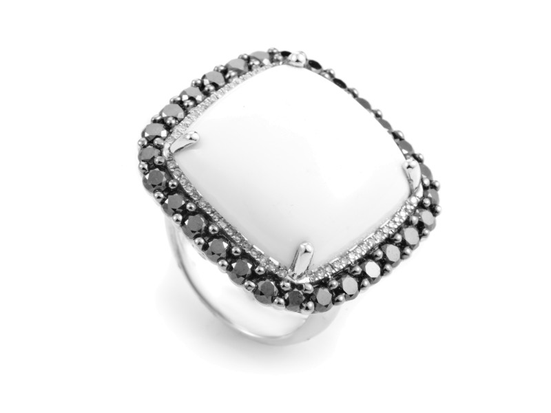 French Collection 18K White Gold White Agate & Black Diamond Ring