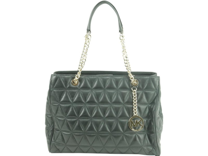 Michael Kors Quilted Black Leather Sussanah Chain Tote 15MK0102
