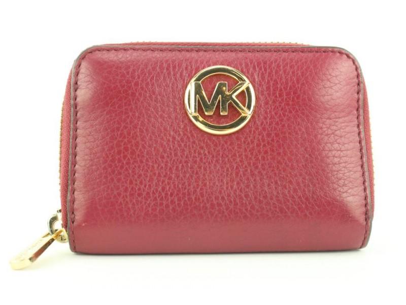 Michael Kors Dark Red Logo Compact Zip Around Wallet Zippy 608mk316