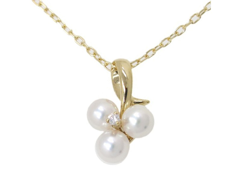 Mikimoto 18K Yellow Gold Pearl Diamond Necklace