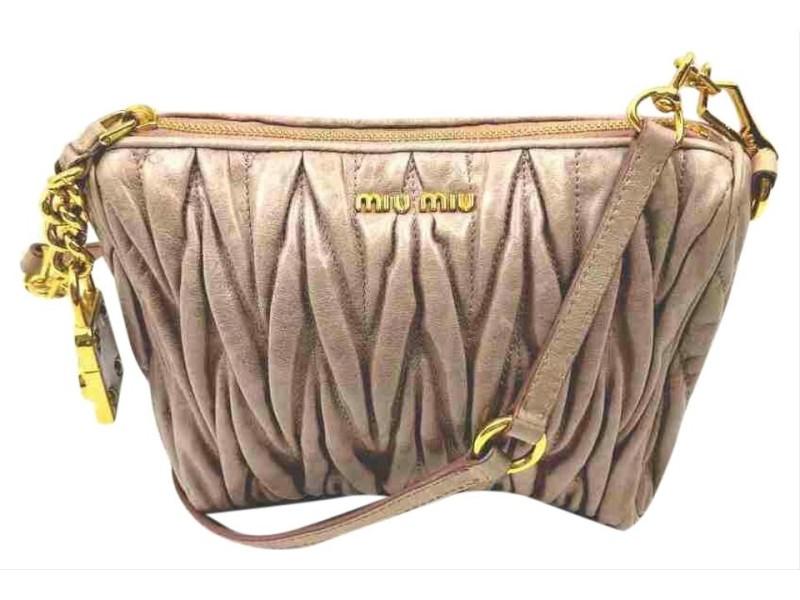 Miu Miu Quilted Cinch 860066 Pink Leather Shoulder Bag