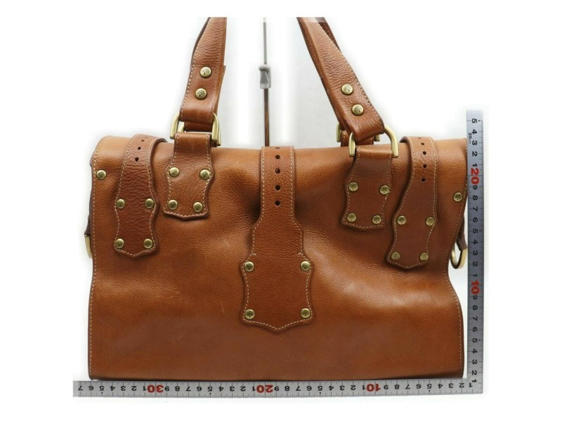 Mulberry Brown Studded Leather Roxanne  861606