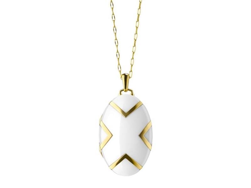 Monica Rich Kosann Yellow Gold Locket With X Shaped White Ceramic Insets