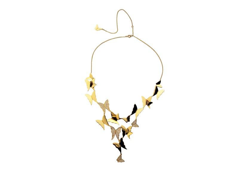 Efva Attling 18K Yellow Gold Miss Butterfly Heaven & Stars 1.20ctw Diamond Necklace