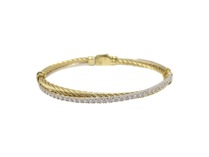 David Yurman 18K Yellow and White Gold and Diamond Cable Crossover Bracelet