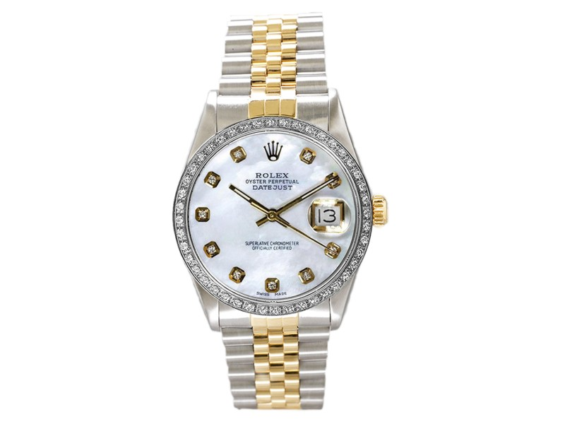 Rolex Men's Datejust Two Tone Custom Diamond Bezel & Mother of Pearl Diamond Dial