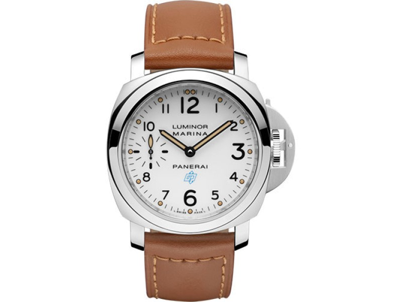 Panerai Luminor Marina Stainless Steel / Leather with White Dial 44mm Mens Watch