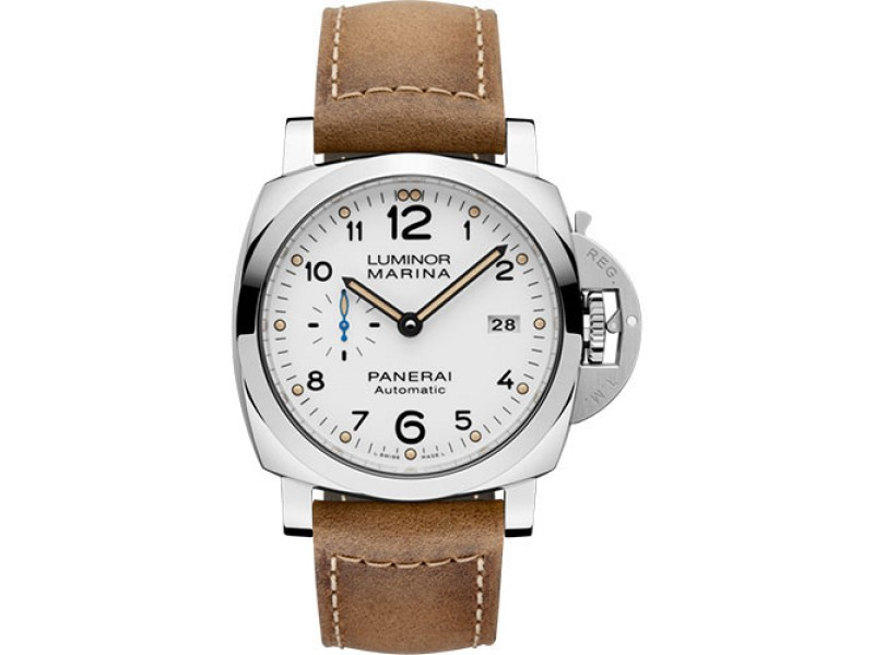Panerai Luminor Marina Stainless Steel / Leather with White Dial Automatic 44mm Mens Watch
