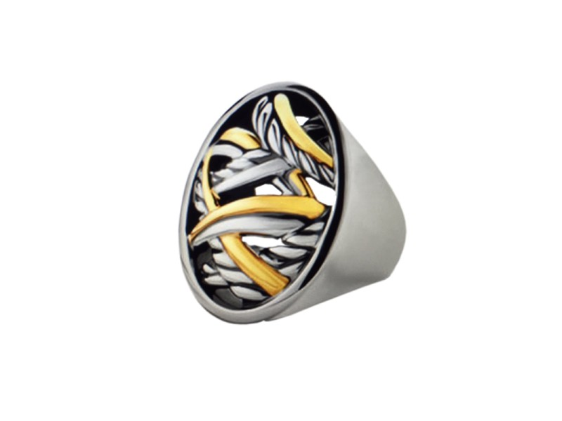 David Yurman Sterling Silver 18k Gold Papyrus Oval Ring