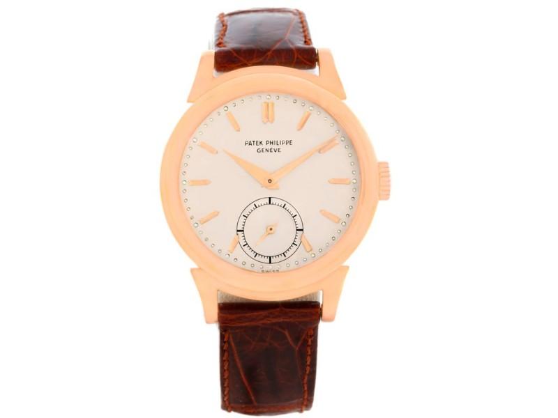 Patek Philippe Calatrava 1491 18K Rose Gold & Leather Vintage 34mm Mens Watch 1949