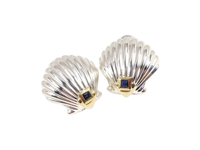 Tiffany & Co. Sterling Silver 18K Yellow Gold Blue Sapphire Shell Earrings