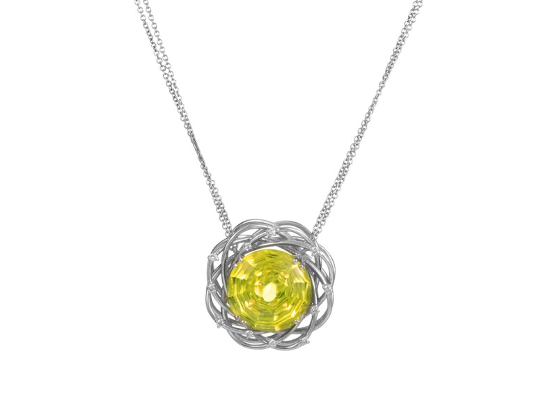 Penta 18K White Gold Lemon Quartz & Diamond Pendant Necklace