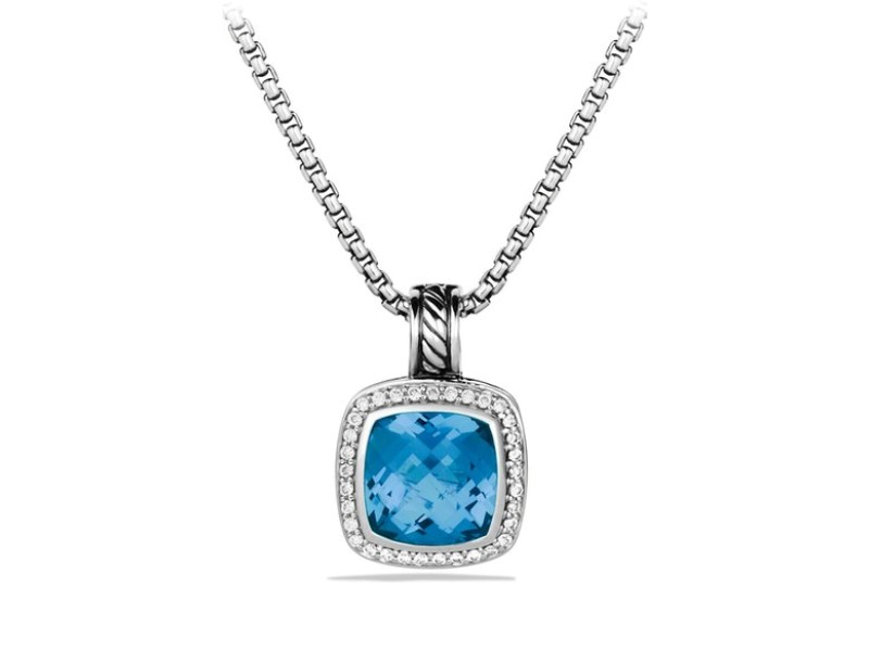 David Yurman Sterling Silver Blue Topaz & 0.21ct Diamond Albion Pendant