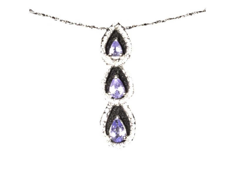 14K White Gold Tanzanite Teardrop Necklace