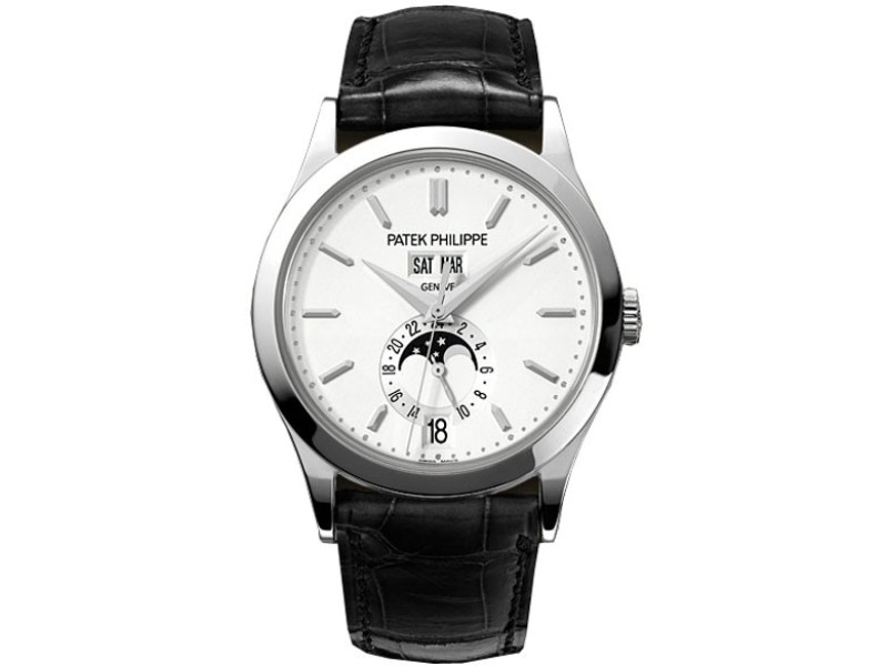 Patek Philippe Complications Silvery Opaline Dial White Gold Case Men's Annual Calender Watch
