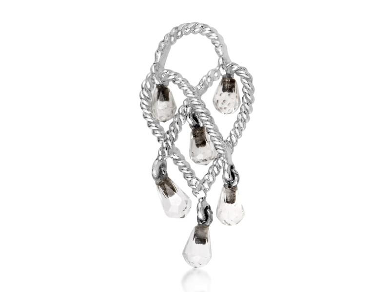 Poiray In Love Heart 18K White Gold & Rose Quartz Briolette Pendant