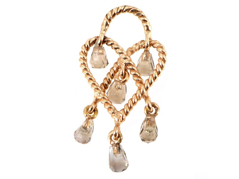 Poiray Love Heart 18K Rose Gold Smoky Quartz Briolette Pendant