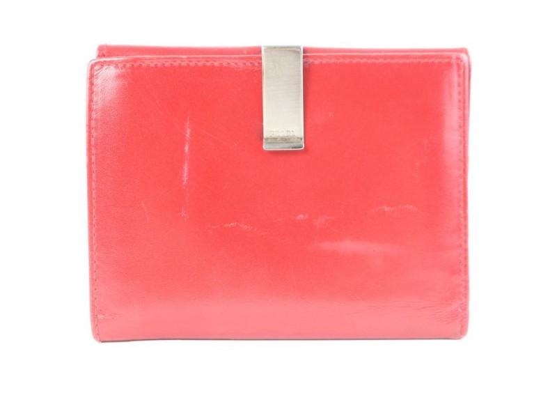 Prada Bifold Wallet 03pz0710 Red Leather Clutch