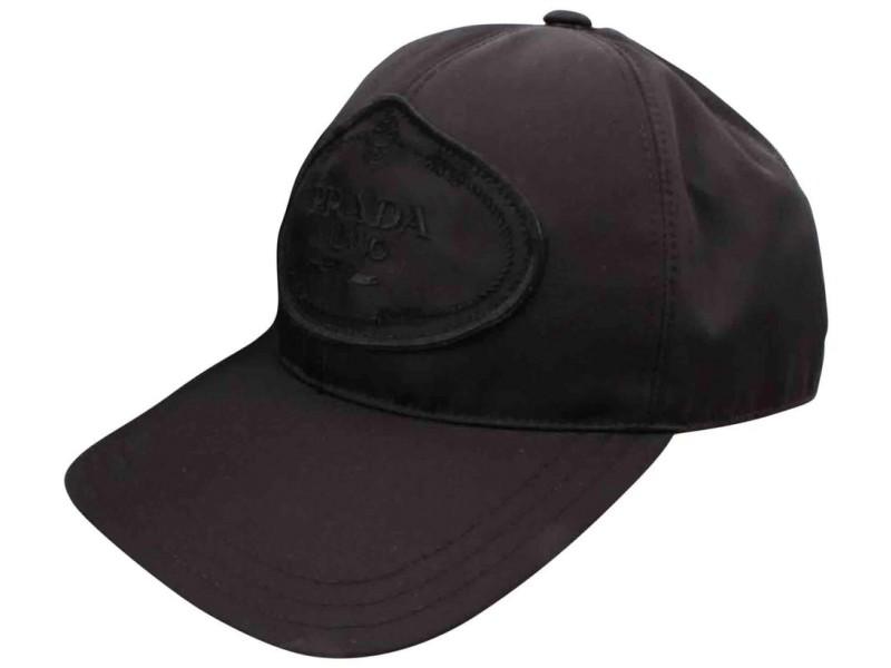 Prada 1hc274 Black Tessuto Nylon Baseball Cap Hat  861339