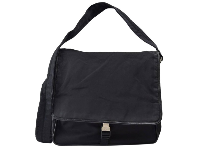 Prada Crossbody Messenger 867319 Black Nylon Laptop Bag