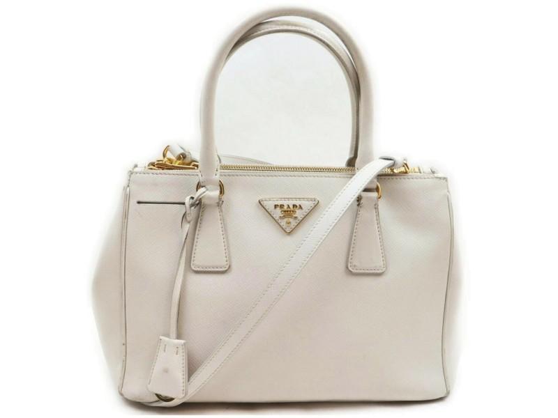 Prada White Saffiano Leather Small Lux Zip Tote Bag 2way 862531