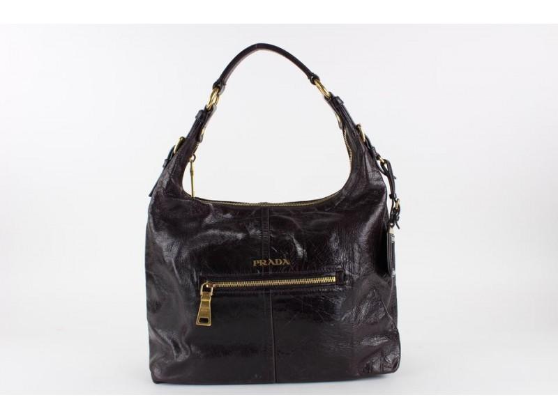 Prada Black Glazed Leather Zip Hobo Bag 13PR1218