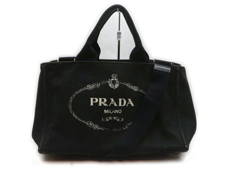 Prada Black Canapa 2way Tote Bag 862363