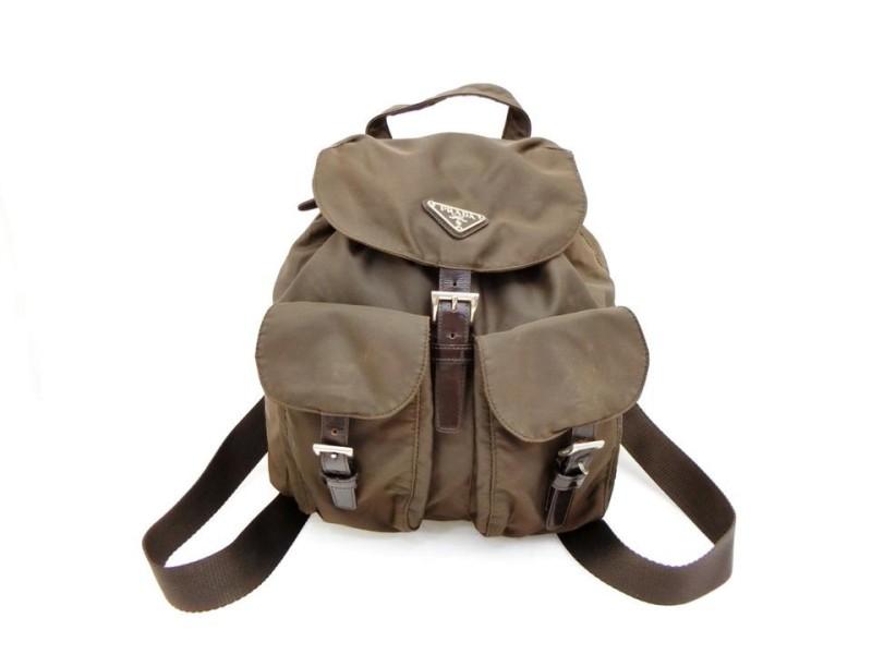 Prada Twin Pocket 230644 Brown Nylon Backpack