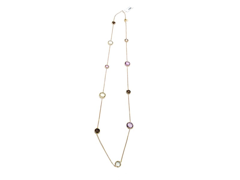 Roberto Coin Ipanema Colection 18K Yellow Gold with Semi Precious Stone Stations Necklace